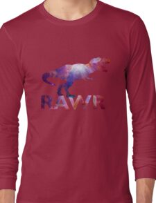 Space T-Rex Dinosaur, Blue and Red Long Sleeve T-Shirt