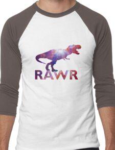 Space T-Rex Dinosaur, Blue and Red Men's Baseball ¾ T-Shirt
