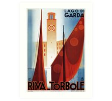 Art deco vintage Italian travel Riva Torbole Lake Garda Art Print