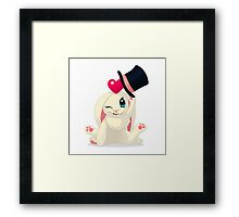 Cute cartoon Funny Bunny with topper Framed Print