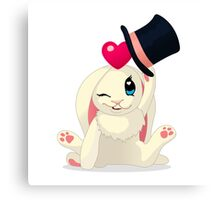 Cute cartoon Funny Bunny with topper Canvas Print