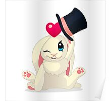 Cute cartoon Funny Bunny with topper Poster