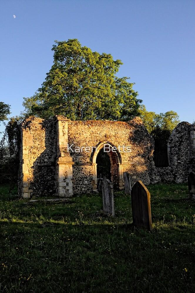Twilight in the church Yard   Ruins by Karen  Betts