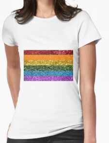 LGBT+ Rainbow Glitter Flag Womens Fitted T-Shirt