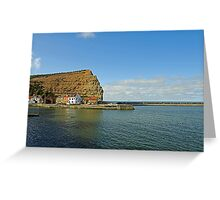 Across Staithes Harbour To Cowbar Nab Greeting Card
