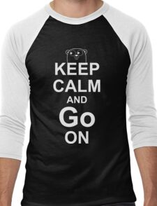 KEEP CALM AND Go ON - White on Red Design for Go Programmers Men's Baseball ¾ T-Shirt