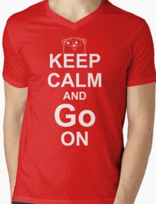 KEEP CALM AND Go ON - White on Red Design for Go Programmers Mens V-Neck T-Shirt