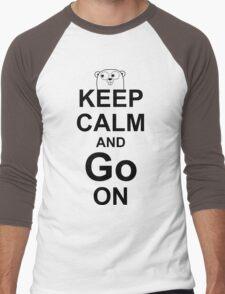 KEEP CALM AND Go ON - Black on White Design for Go Programmers Men's Baseball ¾ T-Shirt