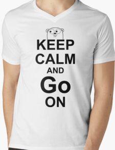 KEEP CALM AND Go ON - Black on White Design for Go Programmers Mens V-Neck T-Shirt
