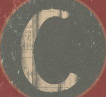 Retro Letter C Sticker