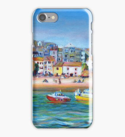 Acrylic painting, St Ives Harbour, Cornwall art iPhone Case/Skin