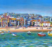 Acrylic painting, St Ives Harbour, Cornwall art by Marion Yeo