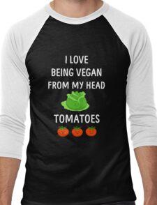 I Love Being Vegan Funny Veganism Men's Baseball ¾ T-Shirt