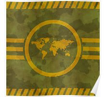 Khaki texture with a map Poster