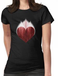 White Fire Peaks Blackened Heart Womens Fitted T-Shirt