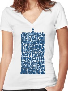 Full of Miracles (blue) Women's Fitted V-Neck T-Shirt