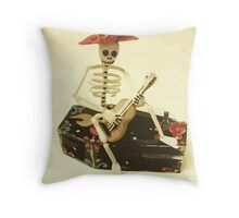 Day of the Dead Guitar Player Throw Pillow