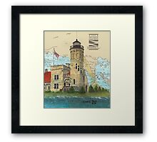 Mackinac Pt Lighthouse MI Nautical Chart Map Cathy Peek Framed Print