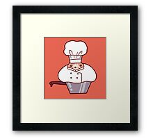 Chef Cat Sitting in Pot Framed Print
