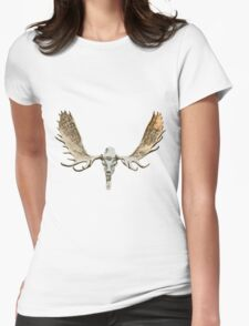 Moose skull Womens Fitted T-Shirt
