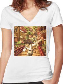 Haku and Chihiro Women's Fitted V-Neck T-Shirt