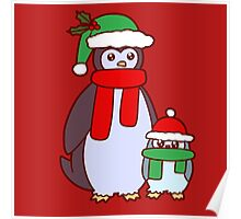 Mama and Baby Christmas Penguins Poster