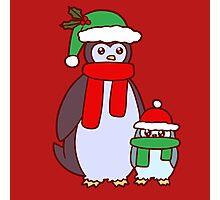 Mama and Baby Christmas Penguins Photographic Print