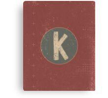 Retro Letter K Canvas Print