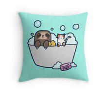 Sloth Kitty Bath Throw Pillow