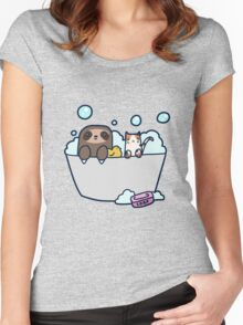 Sloth Kitty Bath Women's Fitted Scoop T-Shirt