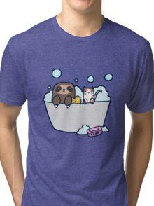 Sloth Kitty Bath Tri-blend T-Shirt