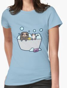 Sloth Kitty Bath Womens Fitted T-Shirt