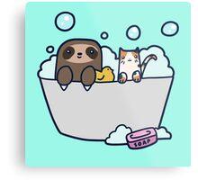 Sloth Kitty Bath Metal Print