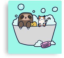 Sloth Kitty Bath Canvas Print