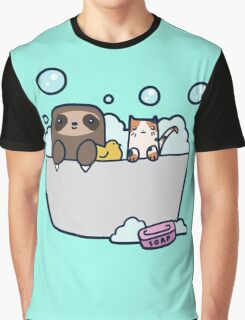 Sloth Kitty Bath Graphic T-Shirt