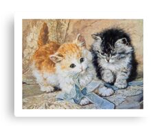 Two Cute Kittens Play With Blue Ribbon - Ronner-Knip Canvas Print