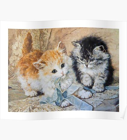 Two Cute Kittens Play With Blue Ribbon - Ronner-Knip Poster