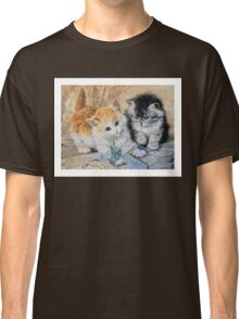 Two Cute Kittens Play With Blue Ribbon - Ronner-Knip Classic T-Shirt
