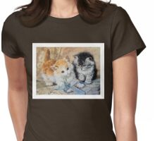 Two Cute Kittens Play With Blue Ribbon - Ronner-Knip Womens Fitted T-Shirt