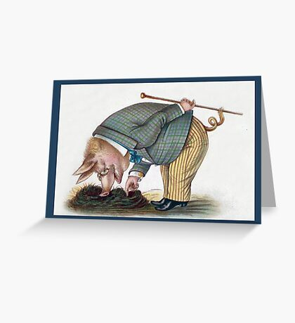 Anthropomorphic Pig In the Garden Greeting Card