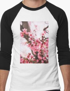 Pink Blossoms Men's Baseball ¾ T-Shirt