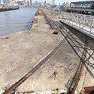 Abandoned Freight Rails, Abandoned Pier, Hoboken, New Jersey  by lenspiro