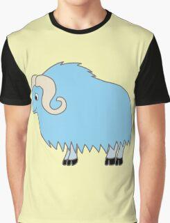 Light Blue Buffalo with Horns Graphic T-Shirt