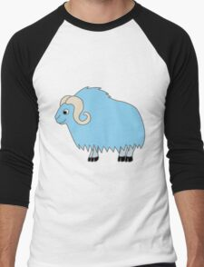 Light Blue Buffalo with Horns Men's Baseball ¾ T-Shirt