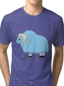 Light Blue Buffalo with Horns Tri-blend T-Shirt
