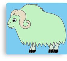 Light Green Buffalo with Horns Canvas Print