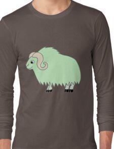 Light Green Buffalo with Horns Long Sleeve T-Shirt