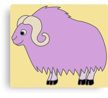 Light Purple Buffalo with Horns Canvas Print