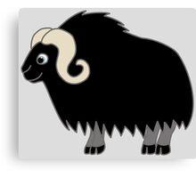 Black Buffalo with Horns Canvas Print
