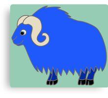 Blue Buffalo with Horns Canvas Print